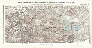 1900 Royal Geographical Society Map Of The Strachey Bros Treks In Tibet