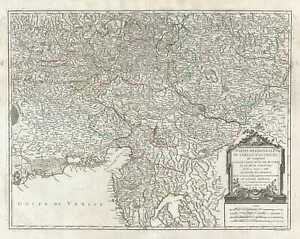 1752 Vaugondy Map Of Southern Austria Italy And Slovenia