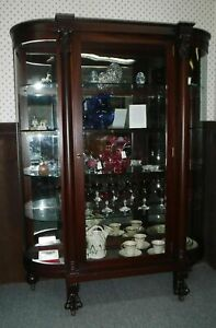 Antique Mahogany Curved Glass China Cabinet Professionally Restored