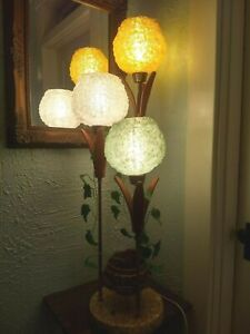 Wow Rare Mcm Vintage Spaghetti Shades Spun Lucite Wood Table Floor Lamp Retro