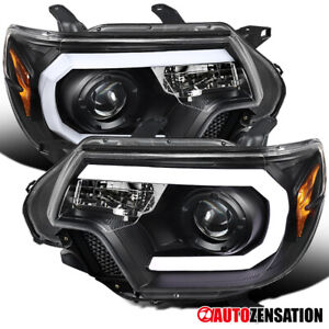 For 2012 2015 Toyota Tacoma Black Projector Headlights Lamps Led Drl Bar