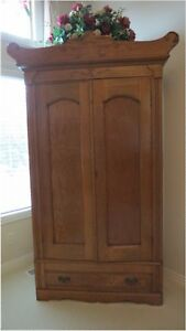 Antique Oak Original Knock Down 2 Door Wardrobe Armoire With Drawer