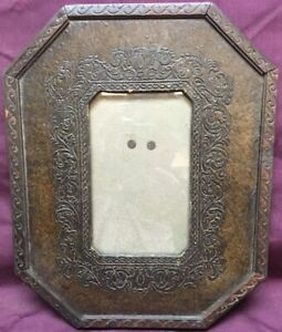 Vintage Arts Crafts Tooled Leather On Wood Picture Frame Octagon Shape W Glass