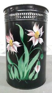 Vintage Hand Tole Painted Black Shabby Metal Trash Can Floral Toleware