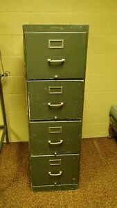 Shaw Walker Vintage Antique Wood Filing Cabinet Green Wooden