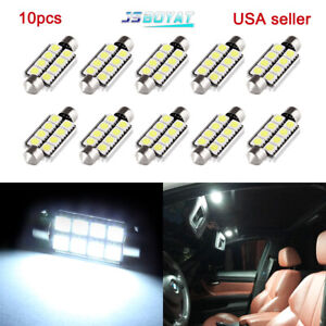10x 42mm 5050 8smd Festoon White 212 2 578 569 Dome Map License Led Light Bulb
