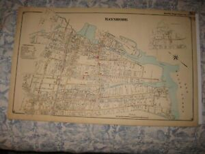 Masterpiece Antique 1915 Bay Shore New York Handcolored Map Special Edition Flat
