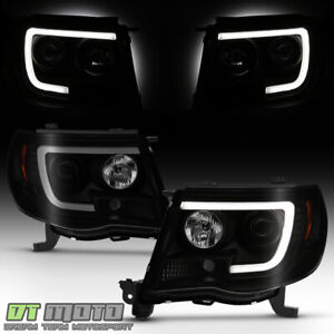 For 2005 2011 Toyota Tacoma Black Smoked Led Tube Projector Headlights Headlamps