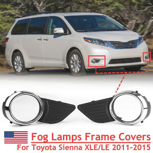 Front Fog Light Lamps Frame Cover Trim Chrome For Toyota Sienna Xle Le 2011 2015