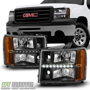 Black Pair 2007 2013 Gmc Sierra 1500 2500hd 3500hd Led Drl Headlights Headlamps