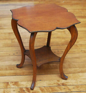 Antique Hardwood Plant Stand Parlor Table Beaded Edge Victorian
