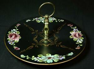 Vintage Nashco Toleware Black Metal Tidbit Tray With Hand Painted Flowers 1940s