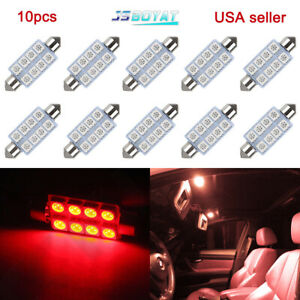 10x Pure Red 42mm 5050 8smd Festoon Led Interior Dome Map Light Bulb 211 2 212 2