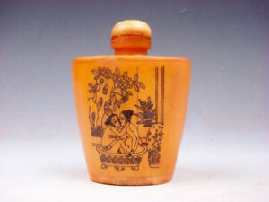 Bone Crafted Snuff Bottle Exotic Ancient Figurines Painted W Spoon 05121915