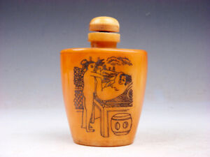 Bone Crafted Snuff Bottle Exotic Ancient Figurines Painted W Spoon 05121917