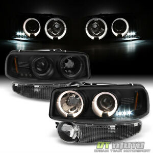 2001 2006 Gmc Yukon Xl Denali Sierra C3 black Smoke Headlights bumper Lamps