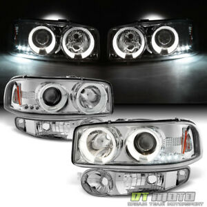 2001 2006 Gmc Sierra Yukon Denali Led Halo Headlights bumper Signal Lights Lamps