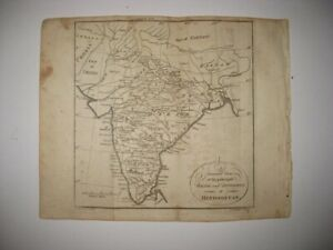 Antique 1792 Hindoostan India Copperplate Map Roads Divisions Superb Detailed Nr