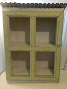 Vintage Country Farmhouse Wood Wall Cubby Cupboard Shelf