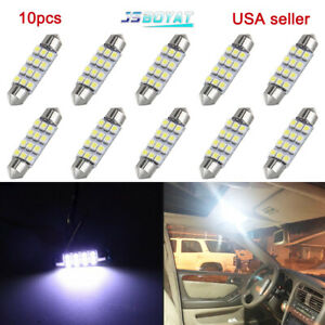 10x White 44mm Festoon 12 Smd Led Dome Map Interior Light Bulbs 578 211 2 212 2