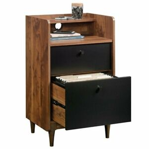 Compact 2 Drawer File Cabinet Home Office Books Grand Walnut Wood Grommet Hole