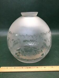 Antique Victorian Grapes Vines Acid Etched Round Globe Oil Lamp Shade