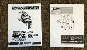 Ammco 5000 Giant Heavy Duty Brake Lathe Operating Repair Manual W Parts Id