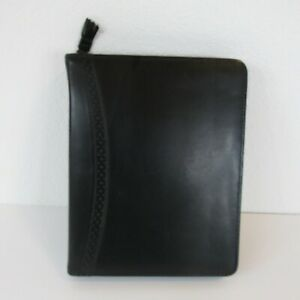 Franklin Quest Black Full Grain Aniline Leather Zippered Binder Planner Classic