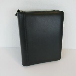 Franklin Covey 1 5in Black Classic Zippered Binder Planner Cowhide Leather Ins