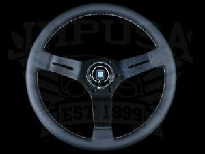 Nardi Competition 330mm Steering Wheel Black Perforated Leather Grey Stitch