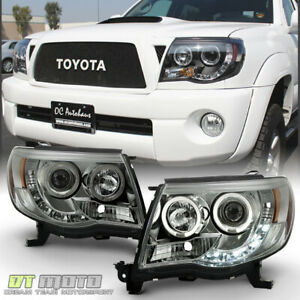 For Smoked 2005 2011 Toyota Tacoma Led Drl Halo Projector Headlights Left Right