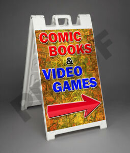 Comic Books Video Games Signicade 2 Sided A frame Sign Sidewalk Store Street