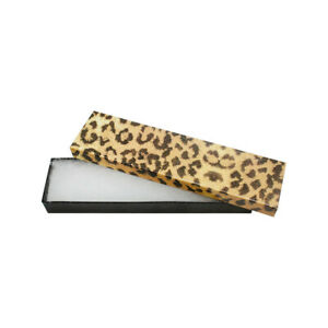 100 Pc 8 X 2 Gift Boxes Jewelry Leopard Print Cotton Filled Batting Cardboard