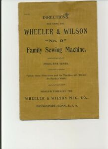 Wheeler Wilson No 9 Sewing Machine Instruction Manual 16 Page Reproduction Copy