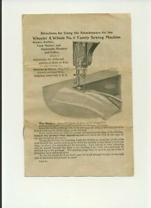 Wheeler Wilson No 9 Sewing Machine Attachments Instructions Reproduction Copy 9p