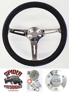 70 73 Suburban Blazer Chevy Pickup Steering Wheel Bowti 15 Black Leather Muscle