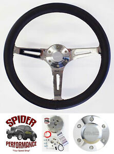 80 87 Gmc Suburban Gmc Pickup Steering Wheel 15 Black Leather