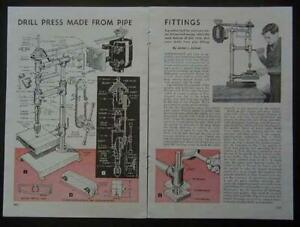 Bench Drill Press Built From Pipe Parts 1948 How to Build Plans
