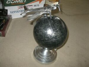 Black Rotating World Globe Silver Tone Metal Stand With Airplane On Top