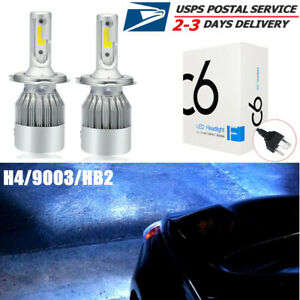 Pair H4 9003 Hb2 8000k Led Headlight Bulbs Ice Blue High Low Beam Conversion Kit