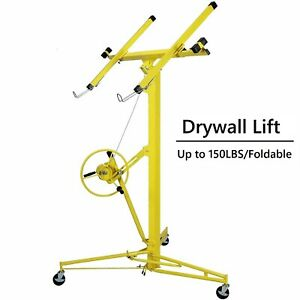 Yellow Drywall Lift 16 panel Lifter Tool Sheetrock Hanging Rolling Caster Hoist