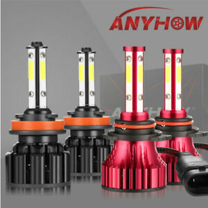 4 Side 9012 H11 Led Headlight Conversion Kit High Low Beam Fog Bulbs All In One