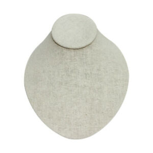 Flat Necklace Display Stand Soft Linen Beige Bust Form Pendant Chain Holder