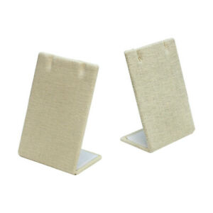 5 Pc 2 1 2 X 3 5 8 Earring Pendant Display Stand Soft Linen Beige Jewelry Holder
