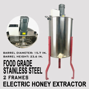 Electric 2 4 Frame Stainless Steel Honey Extractor Centrifuge lid Beekeeper Tool