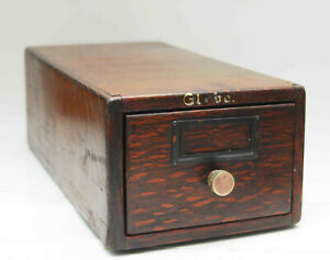 Antique 1905 Globe Wernicke Card Catalog Tiger Oak Library Single Drawer Cabinet