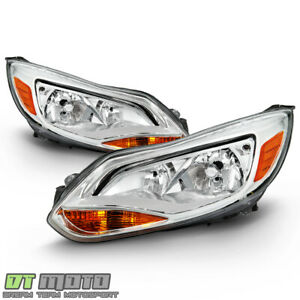 2012 2014 Ford Focus Chrome Headlights Headlamp Replacement Drive Passenger Side