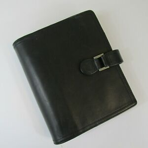 Franklin Covey Black Unstructured Nappa Leather Binder Planner 1in W Inserts