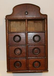 Antique Wall Mount 8 Drawer Spice Box Apothecary Box