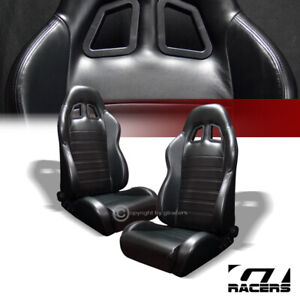 2x Universal Sp Blk Stitch Pvc Leather Reclinable Racing Bucket Seats slider G01